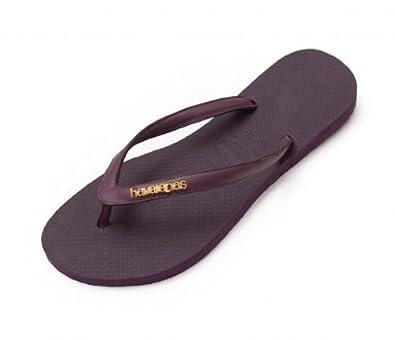 28164226c375 Havaianas Purple Aubergine Gold Logo Slim Elegance Flip Flops Women Leather  Strap Sandal UK 8 EU 43 44  Amazon.co.uk  Shoes   Bags