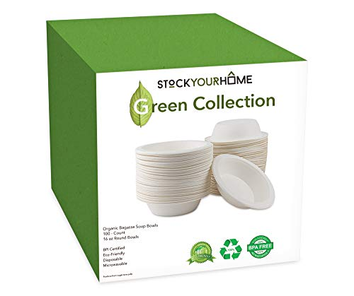 Compostable Bagasse Bowls - Eco Friendly Dinnerware - Biodegradable and Recyclable, 100 Pack, 16 - Ounce Bowl 16