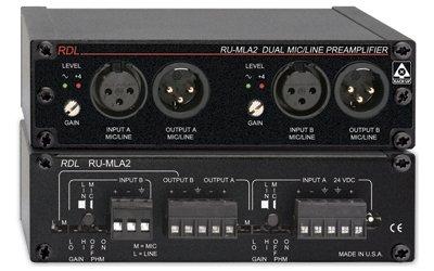 RDL RU-MLA2 Audio Preamplifier 2 CH, Detachable IO Terminal Blocks, Gain Trim on Each Input - Power Supply Included by Radio Design Labs