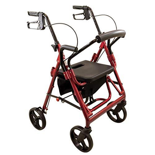 Carex Transport Chair Rollator Walker - Dual Function Walker For Seniors - 4 Wheel Walker With Wheels - Burgundy