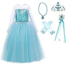 Ice Queen Elsa Blue Snowflake Jewel Costume Dress Gift Set