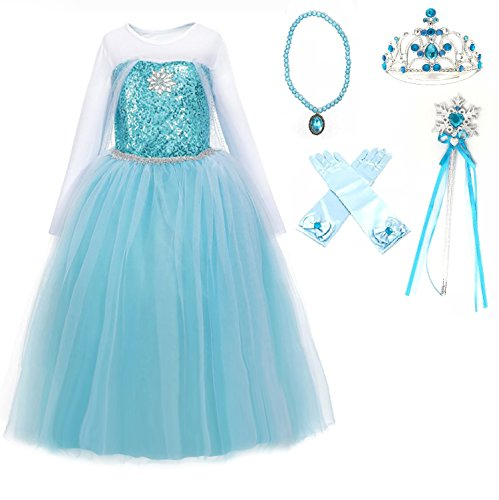 Elsa Blue Dress (FairyTale Princess Boutique Ice Queen Elsa Blue Snowflake Jewel Costume Dress Gift Set (Blue, 7-8))