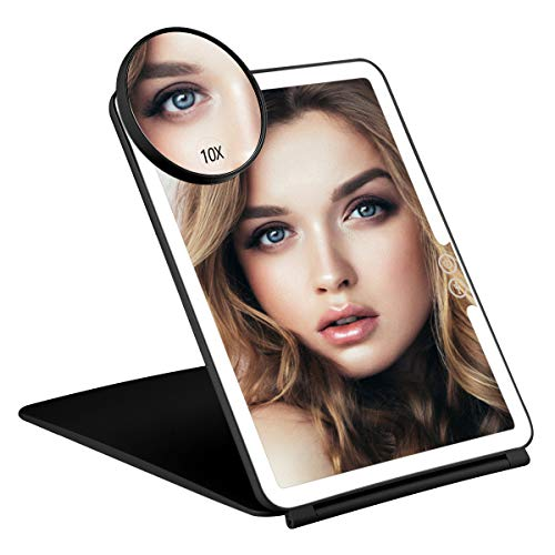 Orange Tech Rechargeable Lighted Travel Makeup Mirror with Cover, LED Travel Vanity Mirror with Lights, Large Compact Mirror with Touch Sensor Dimming, USB Rechargeable Battery