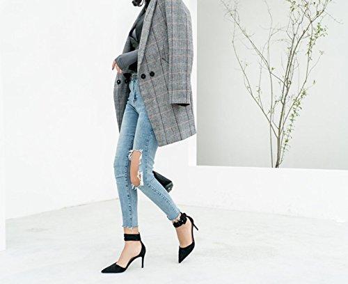 Comfort Wild e 38 Elegante 38 a scarpe tacco carica temperamento in Party Moda 8cm punta nero semplice luce scanalato di porta Ajunr Donna Calzature Court alto HwSxPqpRp