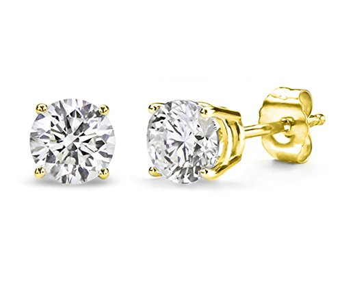 2.00 Carat Total Weight Cubic Zirconia 925 Sterling Silver Gold Plated Overlay Stud Earrings