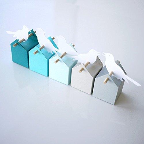Kit Cumulus - Boîtes à dragées et étiquettes oiseau - Baptême et Communion Evous GmbH Mini-kit Cumulus Oiseaux