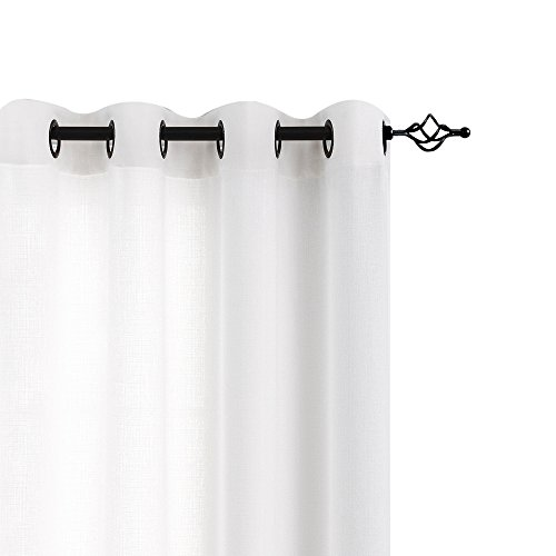 jinchan White Sheer Curtains for Bedroom Casual Weave Wide Width Linen Look Privacy Semi Sheer White Curtains for Living Room, 1 Pair 72