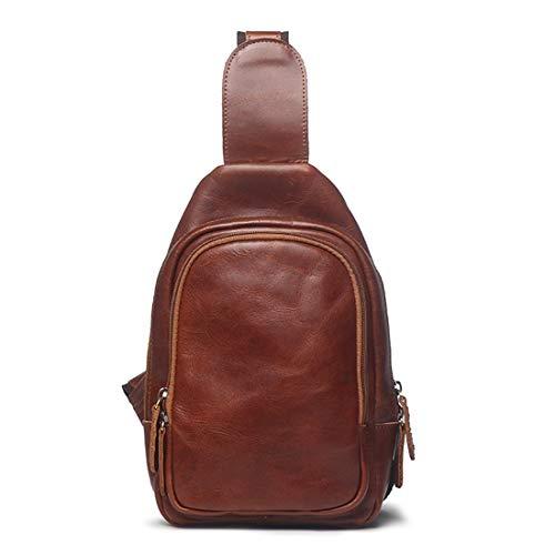 Rosso Leather Messenger Bags Men Brown Marrone Retro Houyazhan Waterproof Shoulder Chest colore Travel d7XgwqA