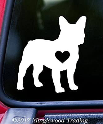 "FRENCH BULLDOG HEART 5"" x 4.5"" Vinyl Decal Sticker Frenchie Love Dog Puppy - 20 COLOR OPTIONS"