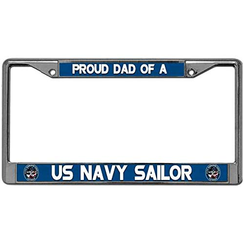DONOTDO Not Easy to Break License Plate Tag Frame Proud Dad of A US Navy Sailor Vehicle License Plate Frame US Navy Military Titanium Alloy US License Plate Frame with Standard Mounting Holes