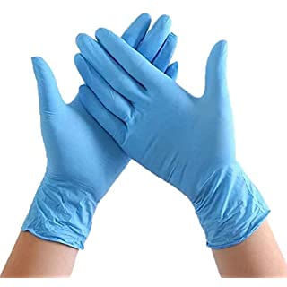 Disposable Nitrile Gloves- 100 Count -Rubber Latex Free, Exam Grade, Examination - Cool Blue (Large)