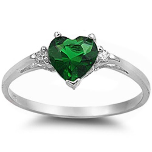 - Oxford Diamond Co Sterling Silver Heart Promise Ring Sizes 3-12 Available (Sterling Silver-Simulated Emerald, 6)