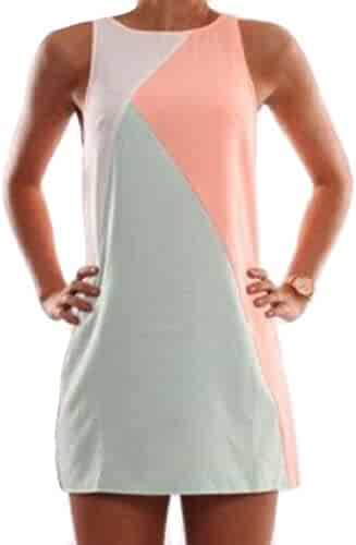 32b7902f15 Winwinus Women Stylish Hit Color Sleeveless Splice Round Neck Mini Dress