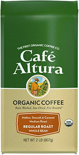 Cafe Altura Whole Bean Organic Coffee, Regular Roast, 2 Pound