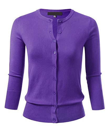 Women's Button Down 3/4 Sleeve Crew Neck Knit Cardigan Sweater L Blueberry