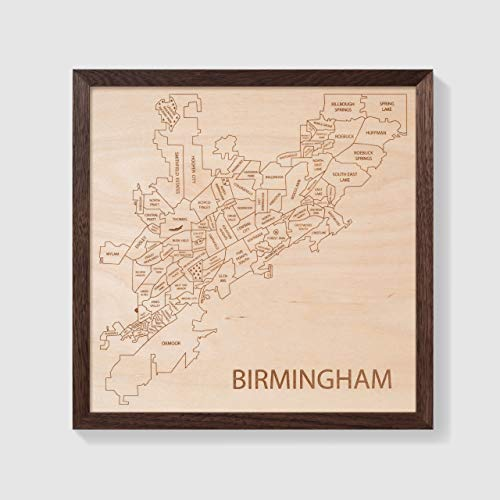 (Etched Atlas Birmingham, Alabama - Wall Map (Framed))