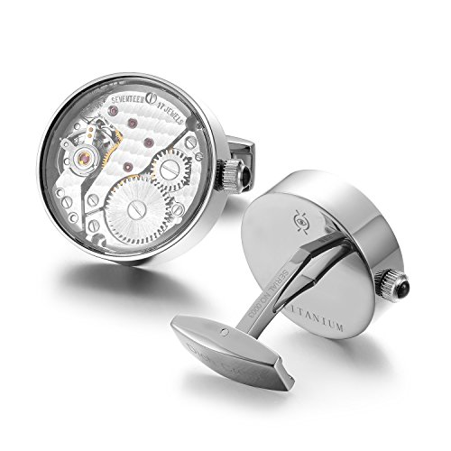Sport Titanium Cufflinks (Dich Creat Men's Titanium Swiss Watch Movement Cufflinks Covered With Glass/Individually Numbered)