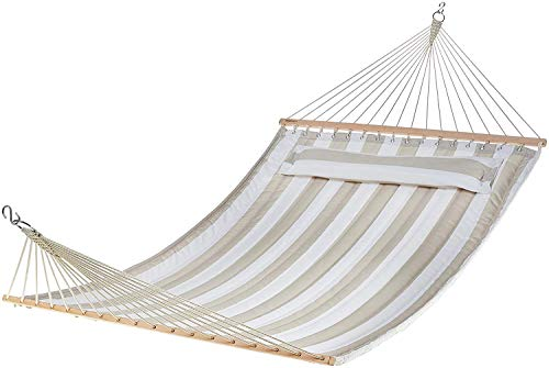 AmazonBasics Pillow Top Hammock, Grey and White - Hammock for enjoying restful relaxation; small, wide pillow provides comfortable cushioning for the back of the head Pretty striped pattern in calming shades of Grey and White; 396.8-pound weight capacity Multiple mounting options; hang it between 2 trees or from walls, a ceiling, or an AmazonBasics hammock stand (sold separately) - patio-furniture, patio, hammocks - 41xrA5oWXZL -