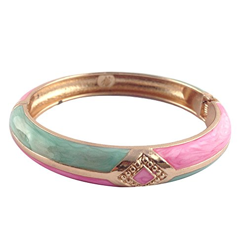 UJOY Cloisonne Bracelet Colorful Cloisonne Design Gold Plated Hinge Enamel Bangle Jewelry for Women Girls 55A41 Knot Green-Pink