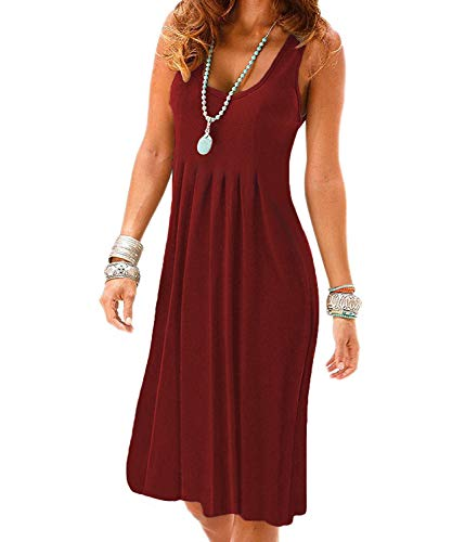(VERABENDI Women's Summer Casual Sleeveless Mini Plain Plated Tank Dresses Burgundy M)