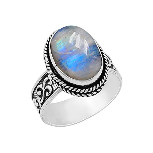 5.60ctw,Genuine Rainbow Moonstone 10x14mm Oval & .925 Silver Plated Handmade Ring (Size-10) ()