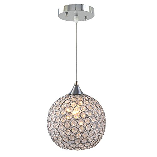 Ball Pendant Lamp (DINGGU™ Single 1 Light 6 Inch Flush Mounted Mini Size Modern Ball Crystal Pendant Light Chandelier Lamp Fixture)