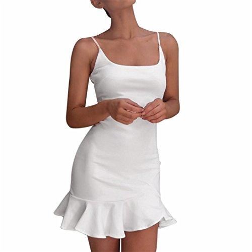 Mini Da Senza Sera Volant Maniche A Corto Irregolare Kword Bianco Vestito Abito Donna qxY1wg1BX