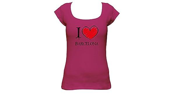 I Love Barcelona FUN Boat Neck t - Camiseta para mujer rosa medium  Amazon. es  Ropa y accesorios fd24531ca970b