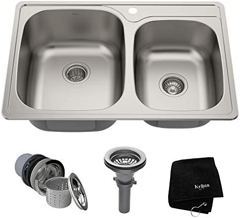 Kraus KTM32 33 inch Topmount 60 40 Double Bowl 18 gauge Stainless Steel Kitchen Sink