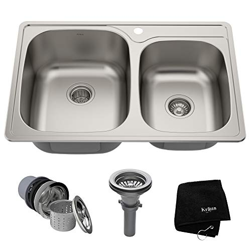 - Kraus KTM32 33 inch Topmount 60/40 Double Bowl 18 gauge Stainless Steel Kitchen Sink