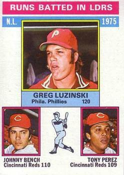 1976 Topps # 195 NL RBI Leaders Greg Luzinski / Johnny Bench / Tony Perez Reds / Phillies (Baseball Card) Dean's Cards 5 - EX Reds / Phillies