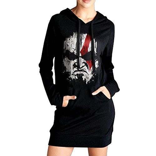 [Women Kratos God Of War Long Hoodie Sweatshirt] (Costumes Kratos)