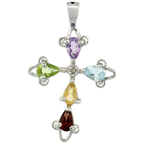 Sterling Silver Multi Color Cross Fleury Pendant, w/ (5x3 mm) Pear Cut Natural Amethyst, Blue Topaz, Citrine, Garnet & Peridot Stones, 1 inch (25 mm) tall; w/ 18 in. Box Chain
