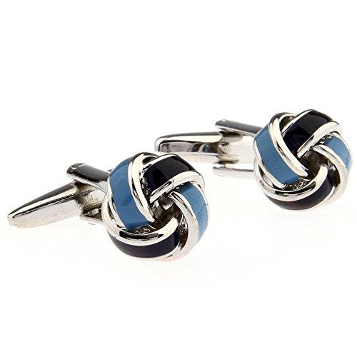 Simple Ball Knot Shape Men's Spherical Copper Cufflinks Blue - Blue Knot Cufflinks