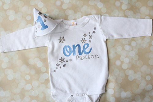 Winter Onederland Outfit Snowflake Themed Boy Birthday Set with Party Hat Personalized, In Light Blue and Silver -