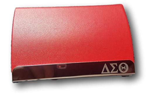Delta Sigma Theta Laser Engraved Business Card Holder with Leather ()