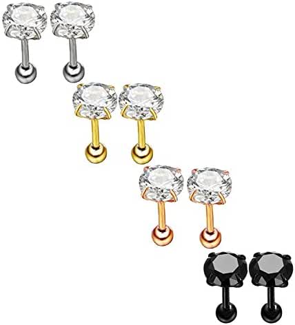 Nicever Stainless Steel Cubic Zirconia Screw Barbell Tragus Cartilage Helix Stud Earrings