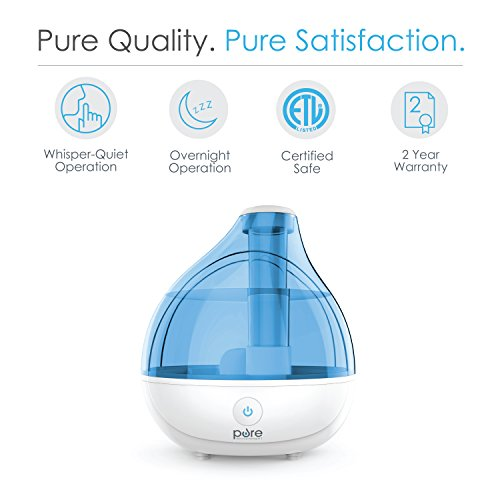 Large Product Image of Pure Enrichment MistAire Ultrasonic Cool Mist Humidifier - Premium Humidifying Unit with Whisper-Quiet Operation, Automatic Shut-Off, and Night Light Function