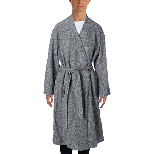 DKNY Pure Womens Wool Tunic Trench Coat Gray L