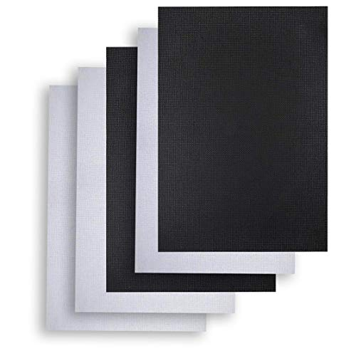 5 Pieces Cross Stitch Cloth Classic Reserve Aida Cloth, 14 Count, 18 by 12-Inch,(2 Black, 3 White)