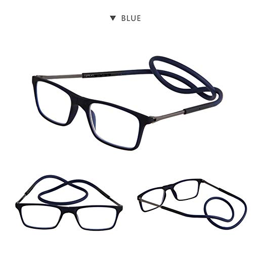 Z&HA Reading Glasses with Magnetic Front Connection, Portable Magnetic Nose Mount, Telescopic Mirror Legs, Hanging Glasses with Resin Lens,03,+150