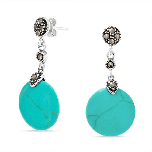 - Round Disc Stabilized Turquoise Blue Drop Sequin Marcasite Accent Earrings For Women 925 Sterling Silver 1.2In