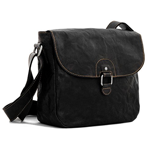 Jack Georges Voyager Saddle Bag, Leather Shoulder Bag in Black (Bag Georges Jack Leather)