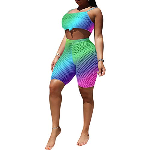 Womens Sexy Swimsuit Cover Up - Spaghetti Strap Crop Top Mesh Bodycon 2 Piece Shorts Set Summer Outfits Green -