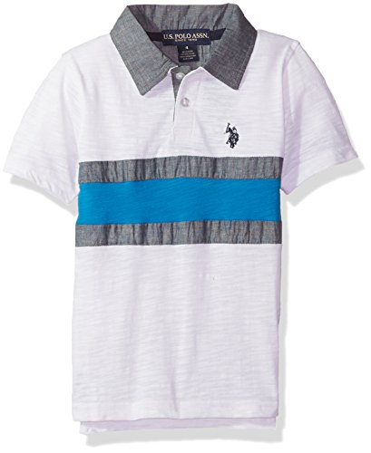 U.S. Polo Assn. Toddler Boys' Short Sleeve Stripe Pique Polo Shirt, White RG58, 3T