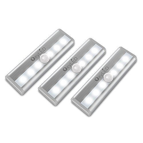 OxyLED-Motion-Sensor-Closet-Lights-Cabinet-Light-Stick-on-Cordless-6-LED-WardrobeStairsStep-Light-BarL-ED-Night-Light-Safe-Lights-with-Magnetic-Strip-3-Pack-Battery-Operated