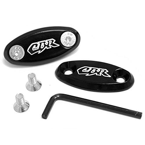 Krator Mirror Block Off Base Plates Logo Engraved Black For 2003-2011 Honda CBR 600 RR / CBR600RR KapscoMoto
