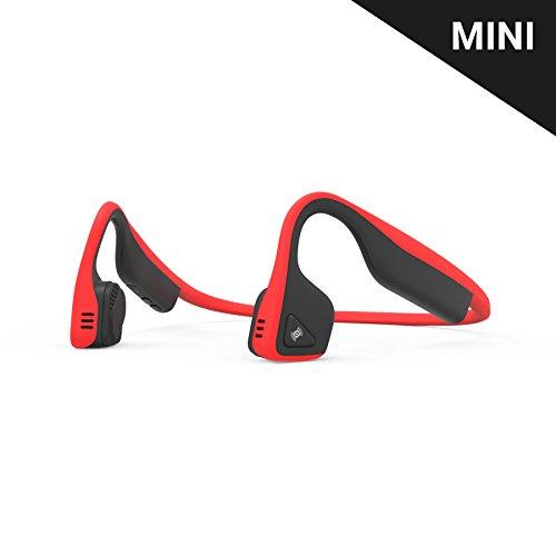 AfterShokz Titanium Mini Wireless Bone Conduction Bluetooth Headphones, Shorter Headband Size for Smaller Fit, Open-Ear Design, Red, AS600MRD