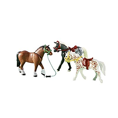 PLAYMOBIL 3 Racing Horses Playset: Toys & Games