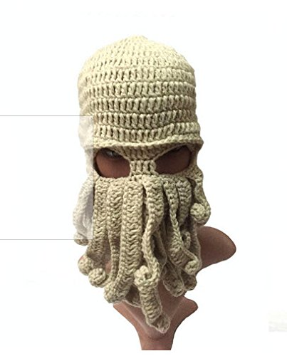 Tentacle Octopus Cthulhu Knit Beanie Hat Cap Wind Ski Mask (Beine Color)